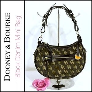 Dooney & Bourke Black Denim Mini Monogram Bag GUC